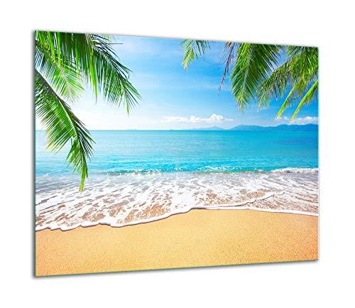 TMK - Placa protectora de vitrocerámica 60 x 52 cm 1 pieza cocina eléctrica universal para inducción protección contra salpicaduras tabla de cortar de vidrio templado como decoración Mar Playa