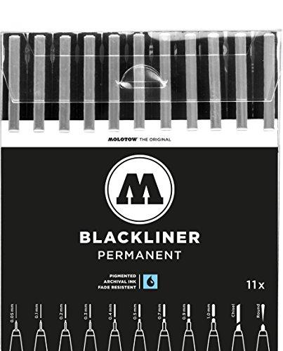 MOLOTOW BLACKLINER Complete Set 200485 mit allen 11 Spitzen