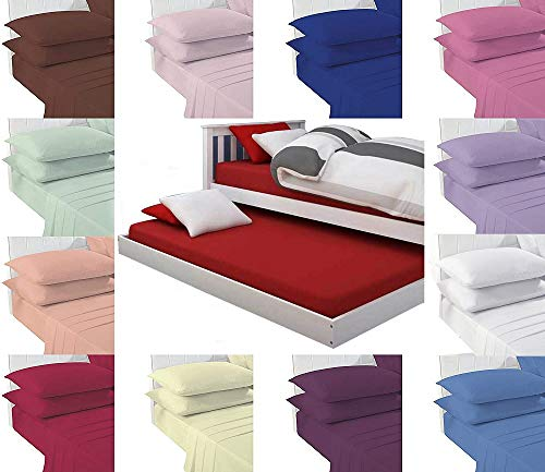 Bunk Bed Fitted Sheet Polycotton Percale Quality - Plain Bottom Sheet For Small Single Bed In Size 75cm x 190cm + 30cm Box Depth (White, Bunk Bed)