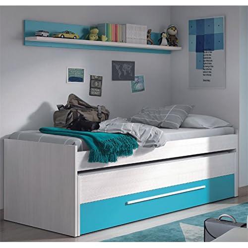Habitdesign 0A7438K - Cama nido juvenil dos camas y un cajón, color Blanco Line y