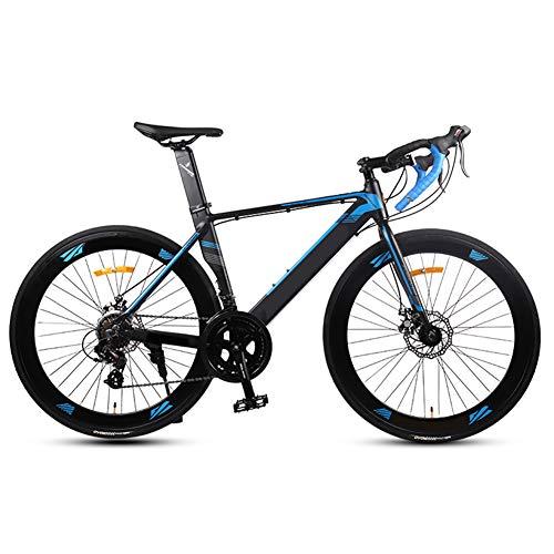 Hisunny Rennrad 700c, Fahrrad Rennrad mit Shimano A070, 14 Speed Schaltgruppe Rennräder, 26 Zoll Fahrrad rennrad, für Damen und Herren Blue 48cm