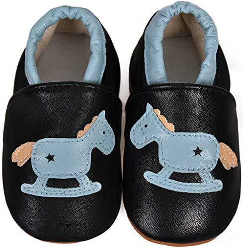 JACKSHIBO Lauflernschuhe Hausschuhe Baby Jungen Mädchen Krabbelschuhe Kleinkind Babyhausschuhe Weicher Rutschfesten, 04 Pferd 12-18 Monate