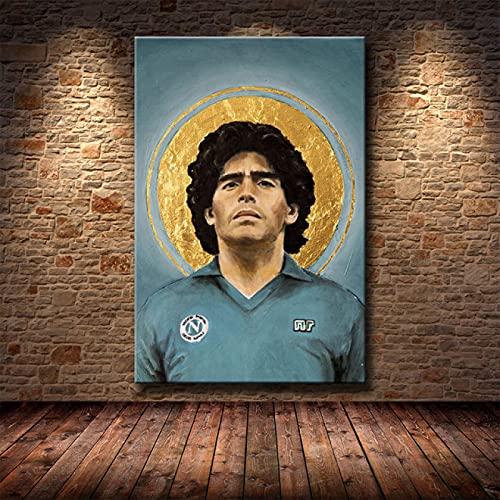 YYAYA.DS Quadro su Tela Diego Maradona Poster Giocatore di Calcio Immagini la Mano di Dio Poster e Stampe su Tela Pittura murale 60x90cm