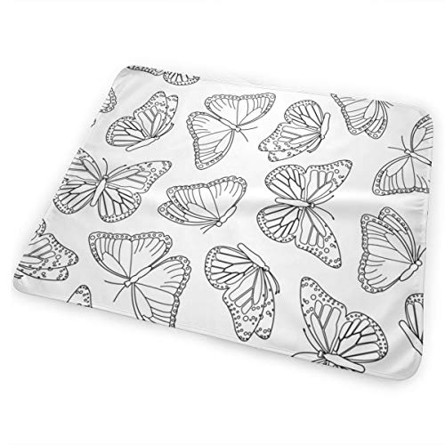 Elegant Butterfly White And Black Bed Pad Washable Waterproof Urine Pads for Baby Toddler Children and Adults 31.5 X 25.5 inch