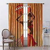 Toopeek - Cortinas opacas para dormitorio, estilo vintage, estilo tribal para niña en ceremonia ritual, imagen tradicional de la sala de estar, 2 paneles de 54 x 72 pulgadas, color naranja y ámbar
