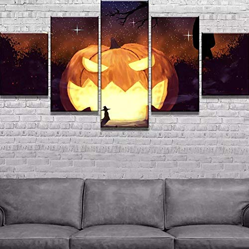 AWER Modular Canvas Painting Home Decor 5 Piece Halloween Pumpkin Star Modern Printed Poster Living Room Wall Art Framed