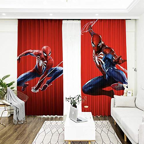llkjd Hängender Vorhang Digitaldruckvorhang Polyester Hintergrund Tuch Spiderman Marvel Anime @ W46 * L54