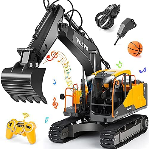 Excavadora RC 3 en 1 Camión de construcción Pala de metal y taladro 17 canales escala 1/16 funcional completo con 2 herramientas