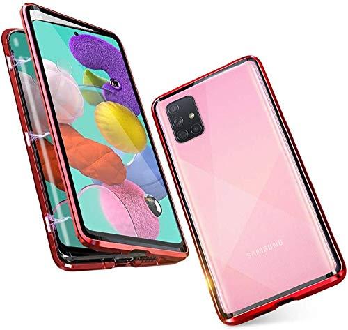 Hülle für Samsung Galaxy A51 Handyhülle 360 Grad Komplettschutz[Magnetische Adsorption] Ultra dünn Metallrahmen Schutzhülle Vorne und Hinten Transparent Gehärtetem Glas Schutz Flip Cover,Rot