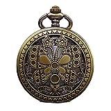 Vintage Pocket Watches Retro collana vuota della vigilanza di tasca del quarzo di stile della farfalla vuota del vapore per il giorno di anniversario di compleanno Natale Orologio da tasca con catena