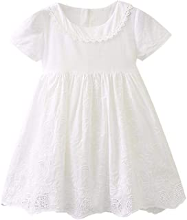 YWLINK Girls' Short Sleeve Solid Color Hollow Summer Dress With Bow Sweet, Knee-Length Party Holiday Princess Dress