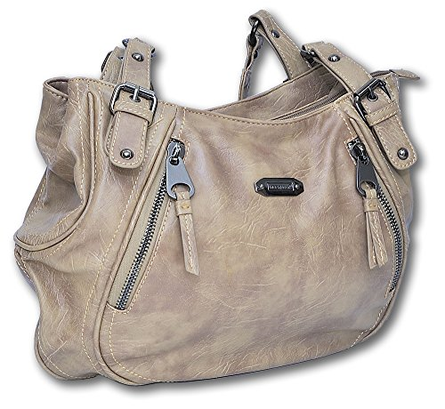 Jennifer Jones, Borsa da donna, alta qualità, in similpelle, Beige (naturale), 42 x 11 x 27 cm