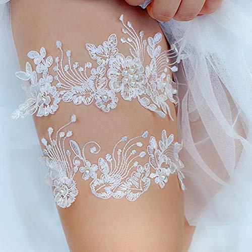 Egurs elegante witte kousenband voor de bruid met parels bruidsjurk bruiloft bruidsaccessoires