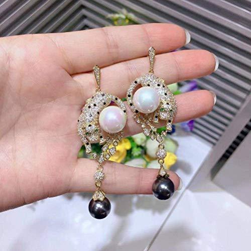 LOt Pendiente de Gota para el Oído para Mujer Pendientes de Perlas de Leopardo Negro con Colgante de Perlas de Luz de Leopardo de Flor de Aguja de PlataComo se muestra