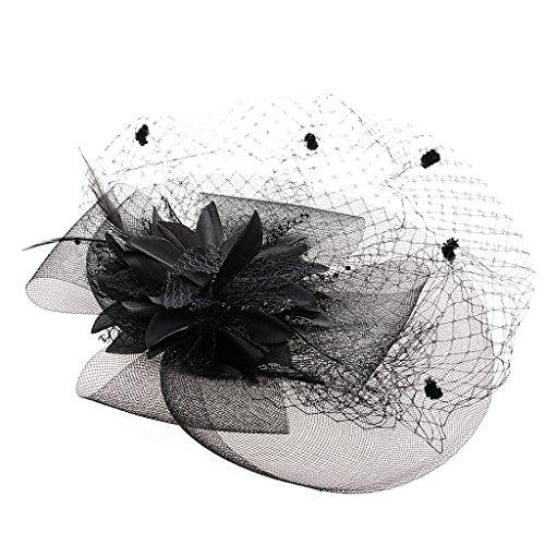 Chapeau Bibi Femme avec Voile Pince Mini Chapeau Plumes pour Costume Soirée Déguisement