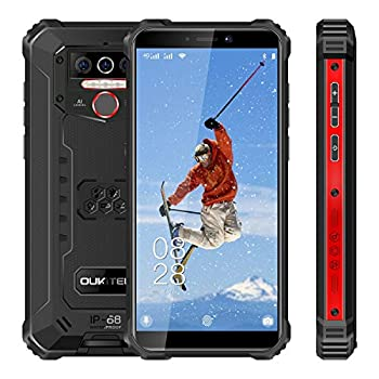 Rugged Cell Phone Unlocked OUKITEL WP5 Pro 8000mAh Battery 4GB+64GB ROM Android 10 Rugged Smartphone 5.5 Inch IP68 Waterproof Shockproof Phone with 4 LED Flashlights Triple Camera Dual SIM 4G