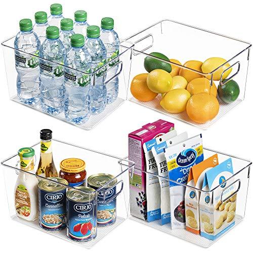 Vtopmart Clear Plastic Pantry Storage Organizer Container Bins, 4 Pack Large Food Storage Bins with Handles for Refrigerator, Fridge, Cabinet, Kitchen, Freezer Organization and Storage, BPA Free