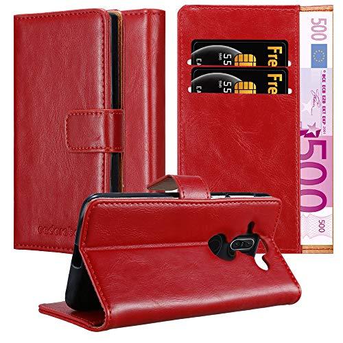 Cadorabo Hülle für Nokia 8 Sirocco in Wein ROT – Handyhülle mit Magnetverschluss, Standfunktion & Kartenfach – Hülle Cover Schutzhülle Etui Tasche Book Klapp Style