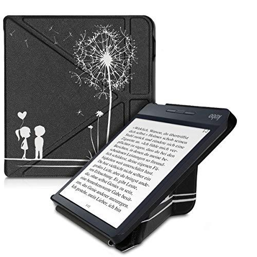 kwmobile Funda Compatible con Kobo Libra H2O - Carcasa magnética de Origami para e-Book - niños y Diente león Blanco/Negro