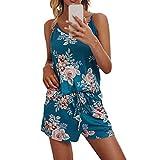 Eternitry Impreso cuello en V Sling Shorts Set Para Mujer Impreso Casual Sleep Ropa Cortos Pijamas