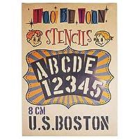 ステンシルシート アルファベット大文字&数字セット U.S.BOSTON (8cm)