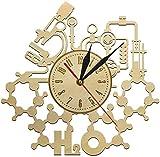 NIUMM Reloj De Pared Experimento Químico Reloj De Pared De Madera Escuela Aula Química Ciencia Rústica Arte De La Pared Decorativo Pared Maestros Regalo