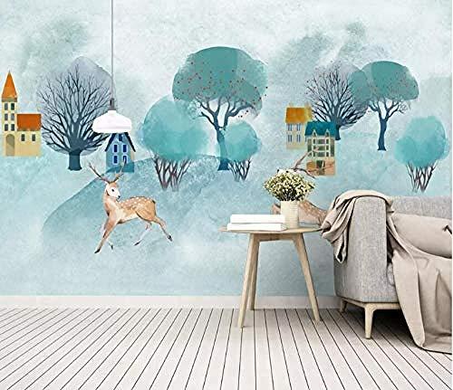 XHXI Murals Custom 3D Wallpaper Mural Small Fresh Large Hd Hand Painted Watercolor Cartoon Elk Big Tree Background Wall 3D Wallpaper Paste Living Room The Wall for Bedroom Mural border-430cm×300cm