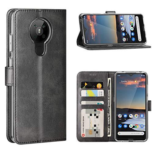 FUNMAX+ Nokia 5.3 Hülle, PU Leder Handyhülle mit 3 Kartenfächer, Schutzhülle Hülle Tasche Magnetverschluss Flip Cover Stoßfest für Nokia 5.3 2020 (Schwarz)