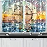 ZANSENG Cortinas Opacas para Cocina Ojetes Sala con Aislamiento térmico Signos del Zodiaco Cortinas de Tiempo para Sala de Estar, 2 Paneles de Cortina de Ventana