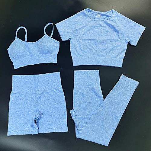 4Pcs Seamles Sport Set Women Two Piece Top T-Shirt Bra Legging Sportsuit Workout Outfit Fitness Wear Yoga Gym Sets-4 Piezas Azul Conjunto_Metro