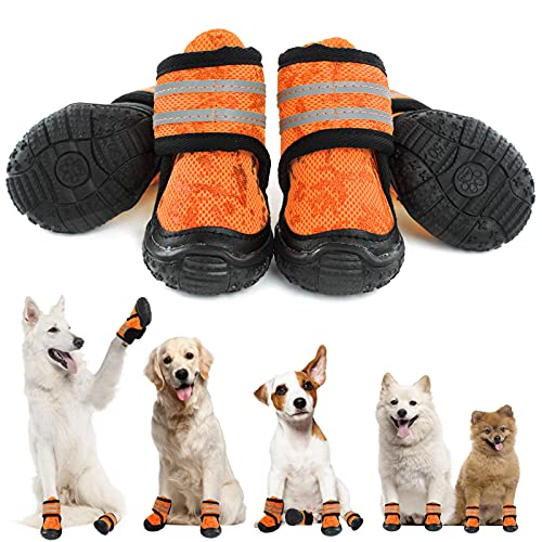 SUNFURA Dog Shoes Pet Boots, Adjustable Dogs Booties Running Hiking Shoes with Anti-Slip Sole for Hot Pavement, Outdoor Paw Protector with Reflective Straps for Small Medium Large Dogs, Orange