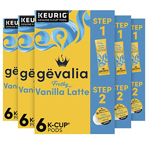 Gevalia Frothy 2-Step Vanilla Latte Espresso K‐Cup Coffee Pods & Froth Packets Kit (36 Pods and Froth Packets, 6 Boxes of 6)
