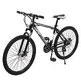 26 Inch Mountain Bike,Road Bike,Shock-absorbing front fork,Full Suspension MTB Bikes for Men or Women,Black And White