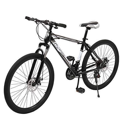 26 Inch Mountain Bike,Road Bike,Shock-absorbing front fork,Full Suspension MTB Bikes for Men or Women,Black And White