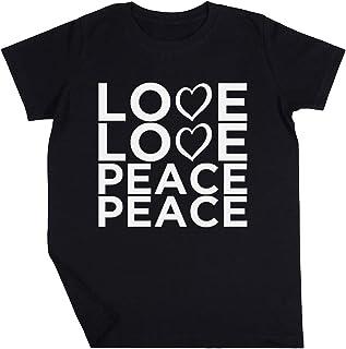 Love Love Peace Peace Niño Niña Unisexo Negro Camiseta Manga Corta Kids Black T-Shirt