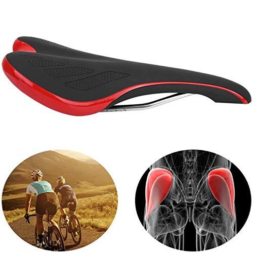 FOLOSAFENAR con sillín de Bicicleta de Cuero PU Fácil de Instalar Se Siente cómodo Cojín de Eva Suave antichoque, para Bicicleta de montaña(Black Red)