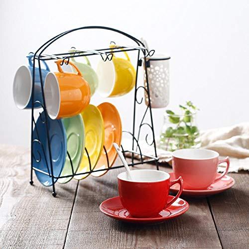 AOARR Tazza di Ceramica Tazza da caffè Europea Color Arcobaleno Tazza in Ceramica Tazza da Latte Tazza da tè Inglese Pomeriggio Piattino Set 6 Tazze 6 Piattini 6 Cucchiai con Cornice in Ferro