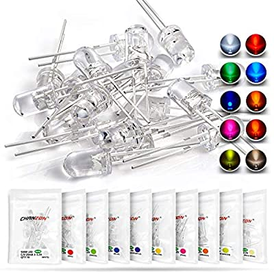 Chanzon 100pcs (10 colors x 10pcs) 5mm LED Diode Lights Assortment (Clear Transparent Lens) H&PC-59042 Emitting Lighting Bulb Lamp Assorted Kit Variety Color White Red Yellow Green Blue Orange UV Pink