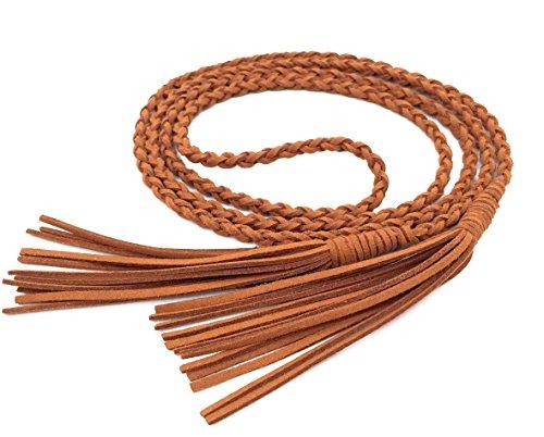 Nanxson Damen Taillengürtel Vintage Gewebte Quasten Leder Dünn Seil Gürtel für Kleid PDW0040 (149cm lang, Camel