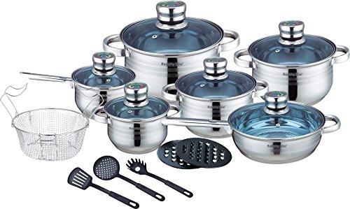 Royalty Line - Batería de cocina (18 piezas, acero inoxidable)