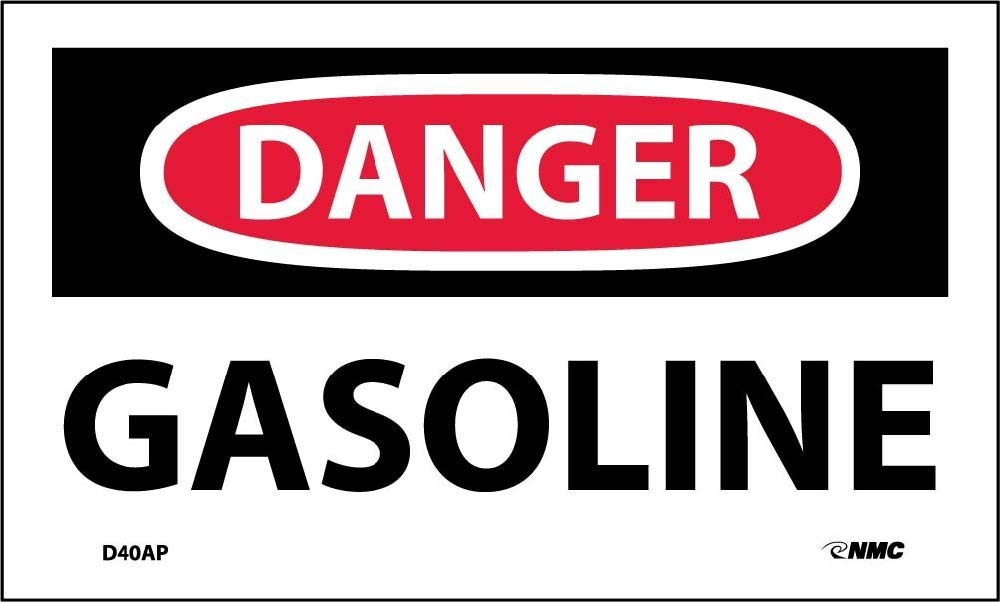 National Marker Danger, Gasoline, 3X5, PS Vinyl, (D40AP)