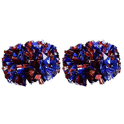 VGEBY1 Cheerleader Pom Poms, 1 Paar 8 Farben Cheer Poms Pack Cheerleading Metallic-Folie für Tanzparty, Sportwettbewerb(Blau, Silber, Rot)