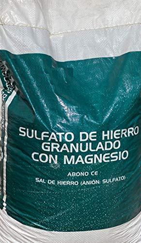Sulfato de Hierro granulado con magnesio 25 Kilos. Sal de Hierro. Abono de Fondo Utilizado para Tratar Las clorosis férricas o amarillamiento de Las Plantas.
