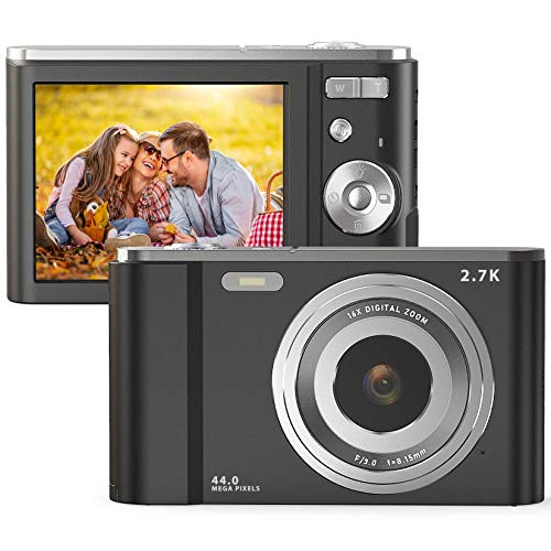 FamBrow Digitalkamera 2,88 Zoll 44 Megapixel 2.7K Mini Digitalkameras mit 16X Digitalzoom Kompakte Digitalkamera mit 2 Batterien für Kinder, Erwachsene, Anfänger (Schwarz)