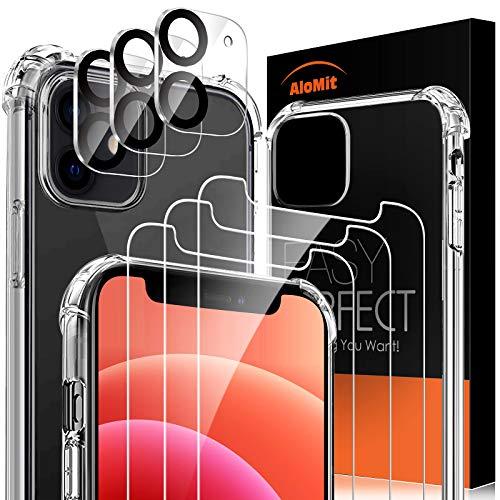 AloMit [3 Pezzi] Vetro Temperato Compatibile per iPhone 12 mini (5.4''), [3 Pezzi] Pellicola Fotocamera [Protezione Completa, Senza Bolle] Pellicola per iPhone 12 mini