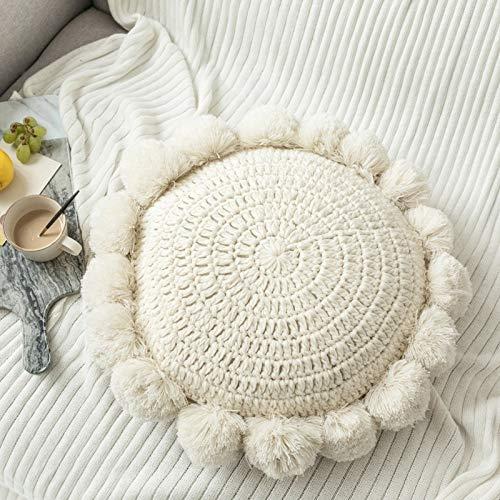 JONJUMP Cojín redondo de punto beige con borla para decoración del hogar, sofá, decoración de la habitación de los niños