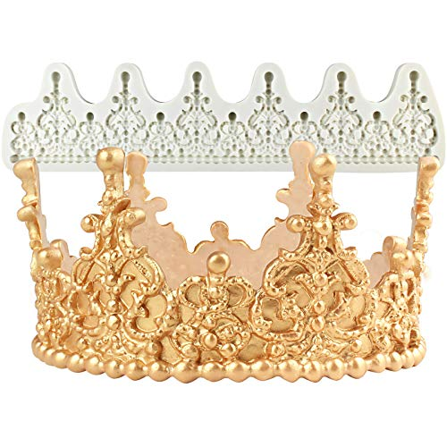 FUNSHOWCASE Crown Cake Topper Mold Height 2.8inch, Filigree Tiara