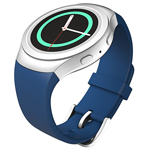 MoKo Soft Silicone Replacement Sport Band for Samsung Galaxy Gear S2 Smart Watch - Dark Imperial Azul (Not Fit Gear S2 Classic SM-7320 Version)