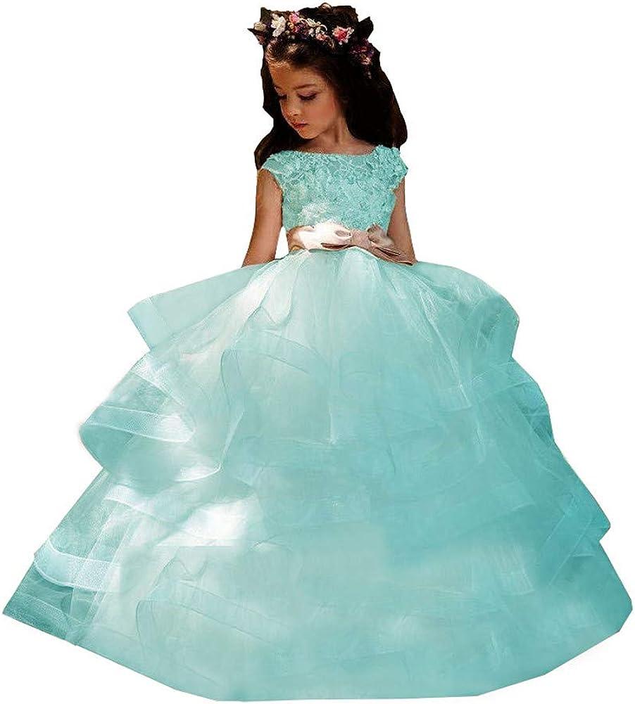 Meowmming Girl's Boston Mall Cash special price Long Ruffles Modern Girls' A Lin Dresses Flower
