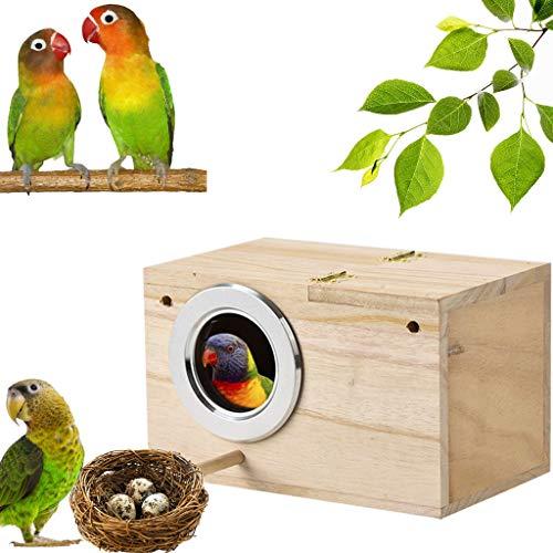 Luccase Khaki Sittich Nistkasten 12 x 12 x 19,5 cm Vogelfutterautomat Sittich Zucht Box Vogelkäfig Vogelhaus Holzzuchtbox für Lovebirds Papageien Paarung